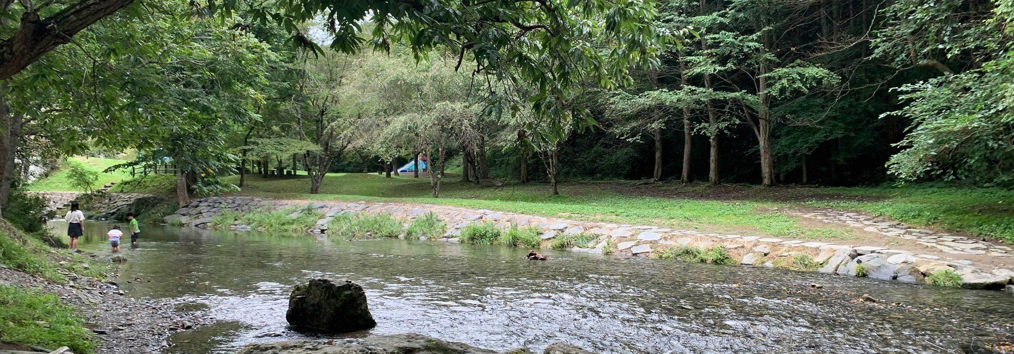 子どもを遊ばせることの出来る浅く綺麗な水場